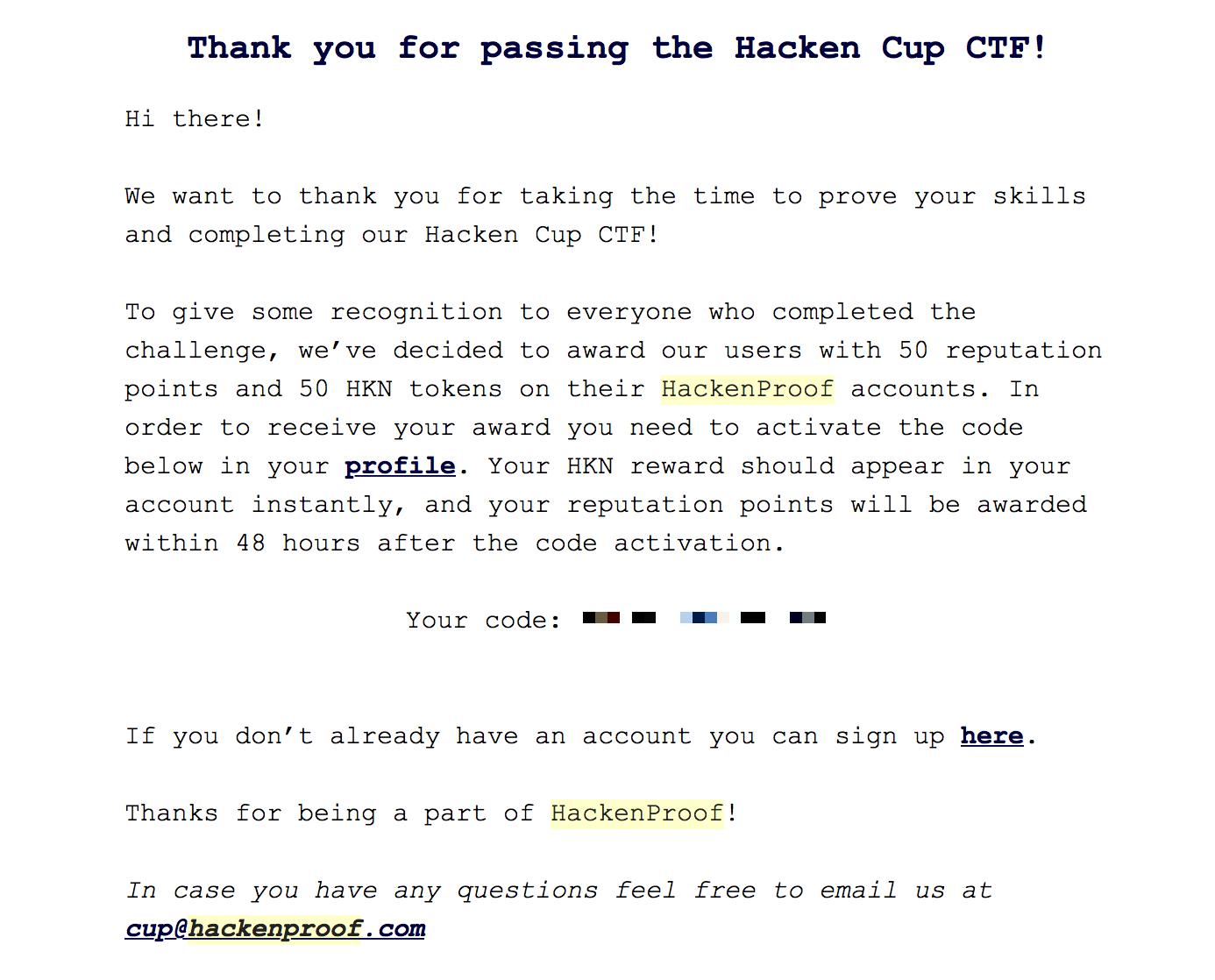 Congratulatory Email